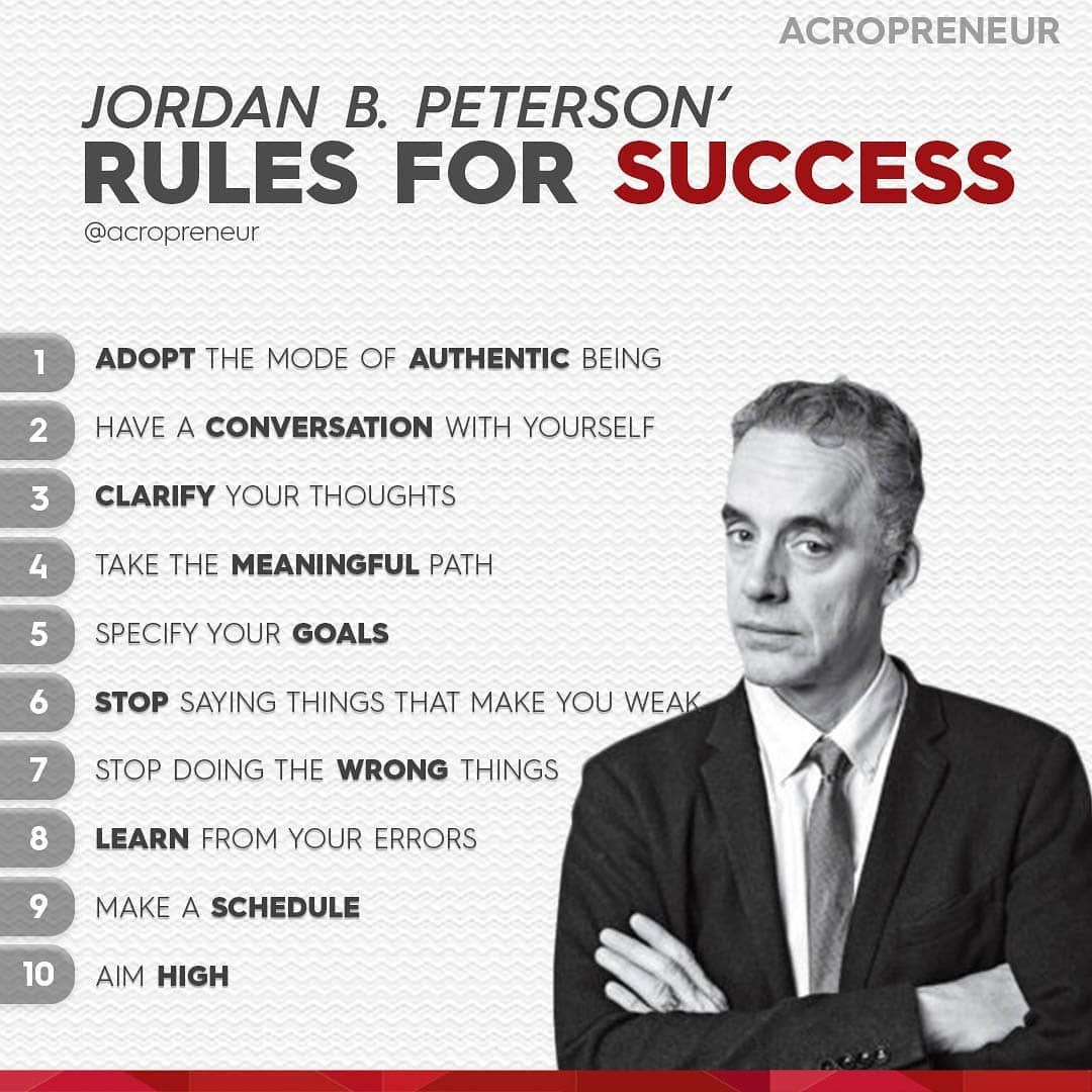 Here are Jordan Peterson's top 10 rules for success! Which one is your  favorite? 👇 . Follow @acropreneur for more… | Jordan peterson, Tony  robbins quotes, Jordan b