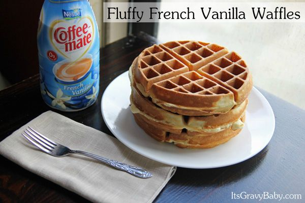 Fluffy French Vanilla Waffles #frenchvanillacreamerrecipe
