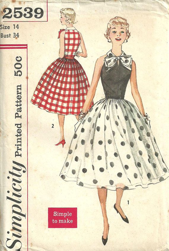 Simplicity 2539 Vintage 50s Sewing Pattern Dress Size 14 Bust 34 ...