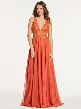 A Line Deep V Neck Beaded Long Prom Dress With Button Back #PromDresses #A #Line #Deep #V #Neck #Beaded #Long #Prom #Dress #With #Button #Back