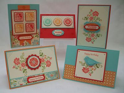 Note the card in the lower right corner made with the bird punch. Stamping Moments by Jenny Moors of the UK