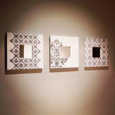 Espejos con marcos decorados. Técnica transfer.