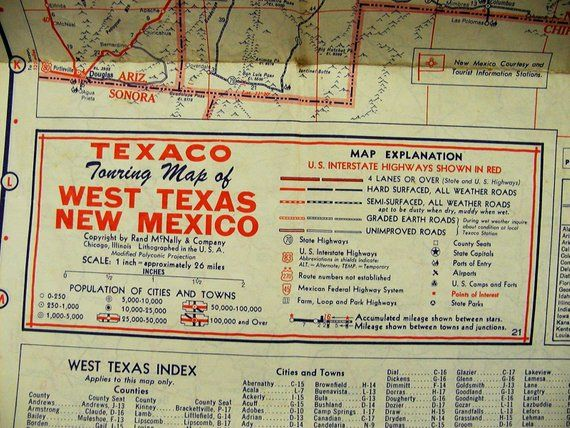 Map Of West Texas And New Mexico.Vintage Mid 50 S Texaco Road Map East Texas Oklahoma New Mexico West