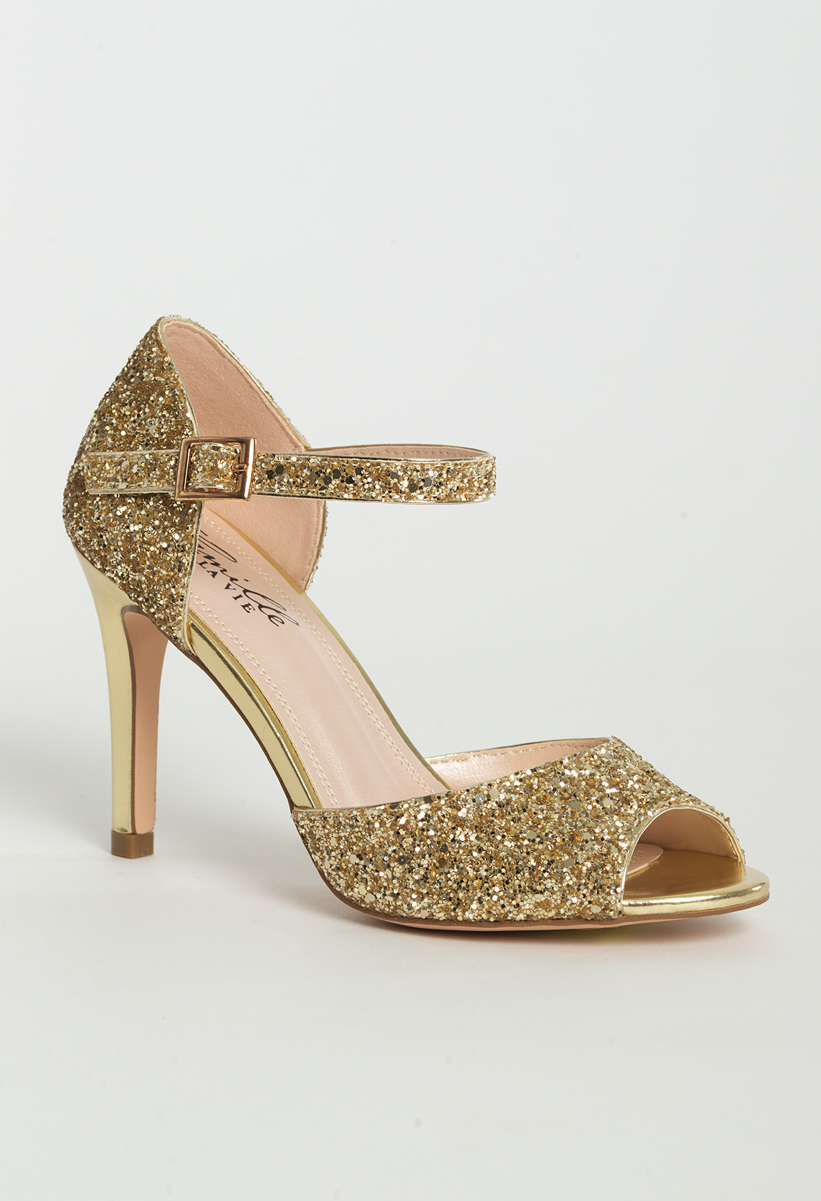 05daafc338 Mid heel glitter sandal features: • 3 inches heel • Matching covered ...