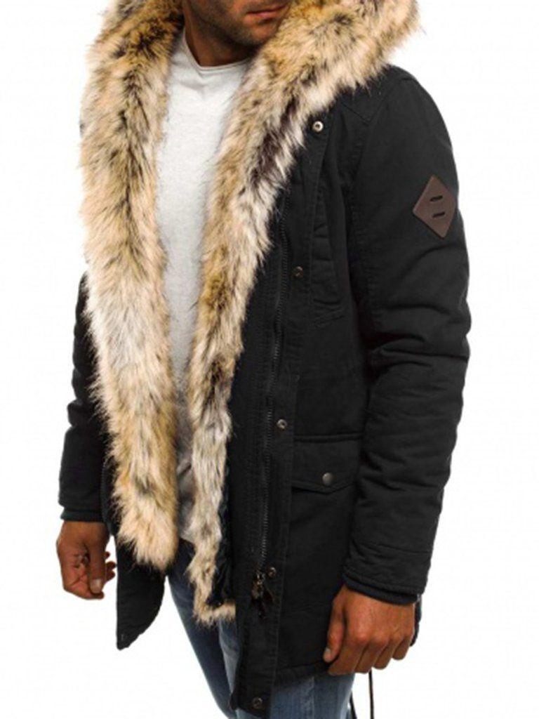 7a24db00fc37 Mid-Length Plain Faux Fur Zipper Thicken Warm Men's Winter Coat –  hebedress.com