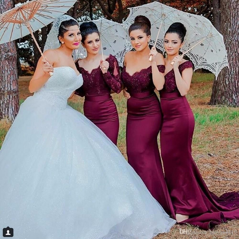 Sexy Lace Burgundy Bridesmaid Dresses 2018 hot Mermaid Long Sleeve Beaded  Long Bridesmaid Dress Formal Maid Of Honor plus size  bridesmaiddresses   princess ... b19da29ff053