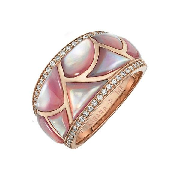 Kabana Sterling Silver Pink Mother of Pearl Oval Ring