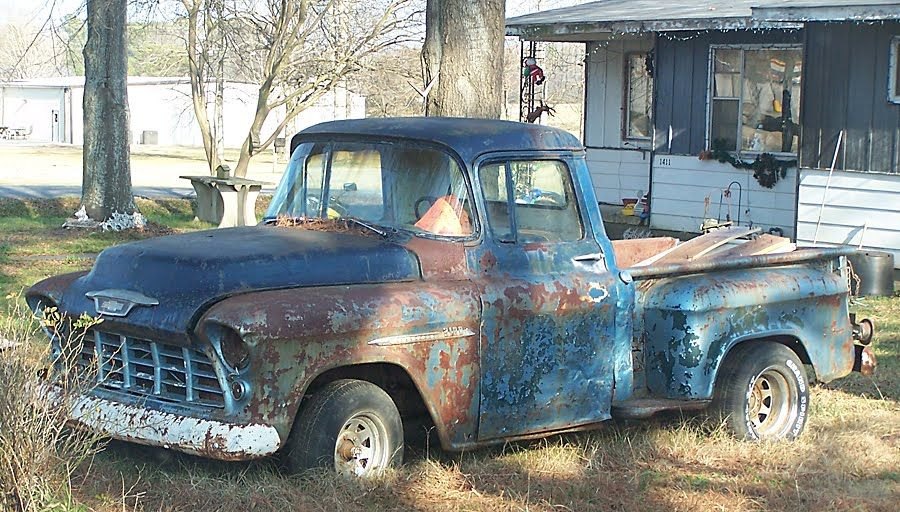 1955 Chevrolet 3100 Pick Up Truck For Sale In The Rearview 1955