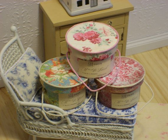 One French Shabby Chic style Hatbox Miniature by FrenchVellum