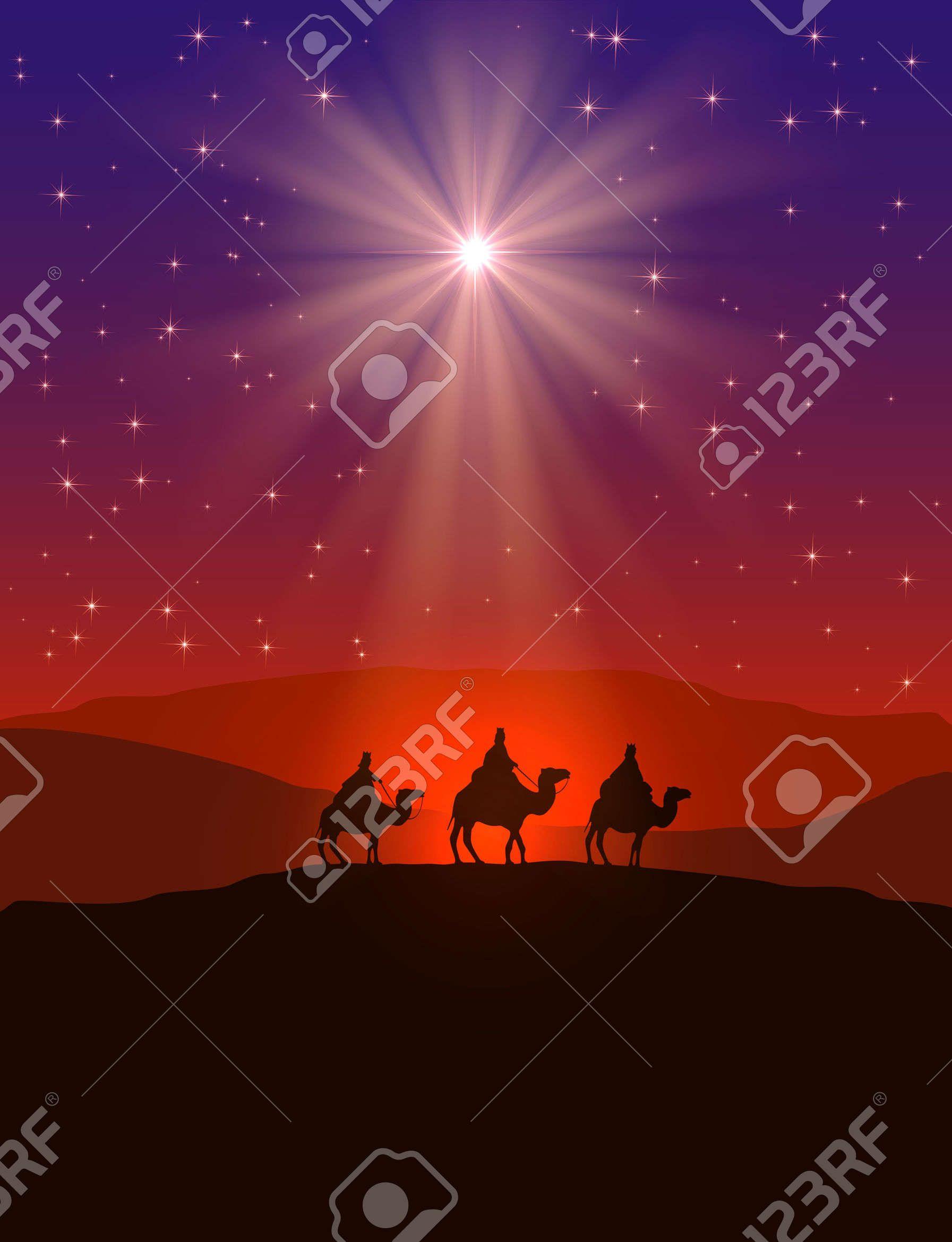 Fondo Cristiano De La Navidad Con La Estrella En El Cielo Nocturno Y ...