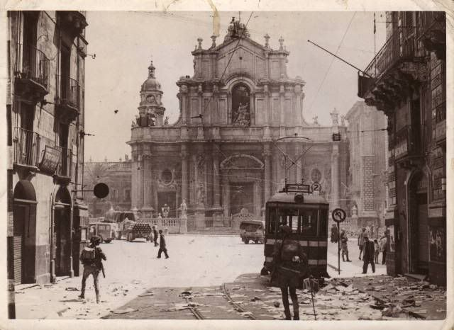 Street scene in Catania after the occupation of the town by the 8th Army troops: