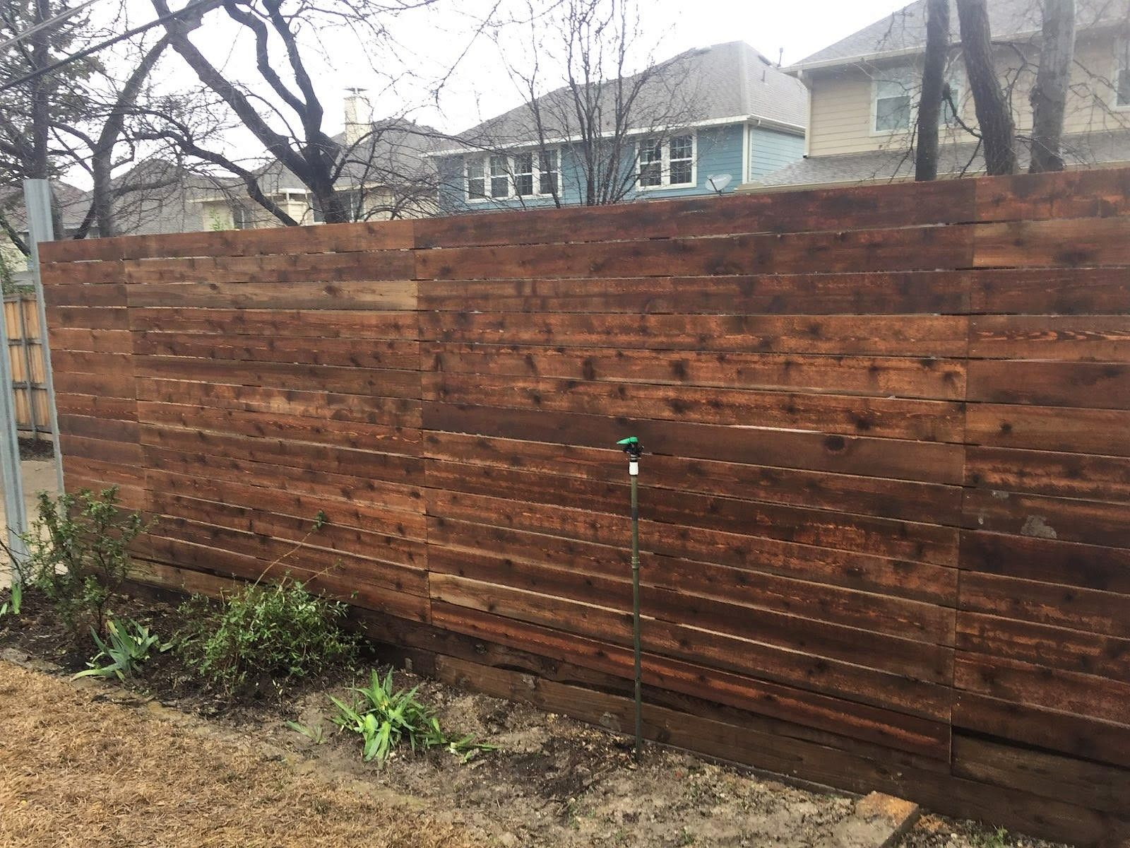 Horizontal Side By Side Cedar Fence With Gaps Installed