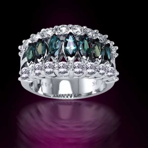 One of the world's rarest and most exotic gemstones, mysterious Alexandrite is prized for its natural ability to dramatically change color from vibrant mossy green in daylight, to alluring raspberry red in evening and incandescent light. A true miracle of nature!