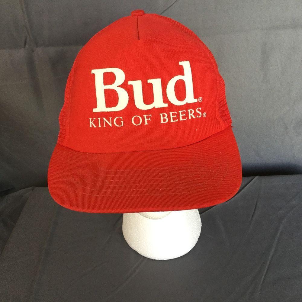 305a272d120 Vintage Bud King Of Beers Red Snapback Trucker Baseball Hat Cap BUDWEISER   Stylemaster  BaseballCap
