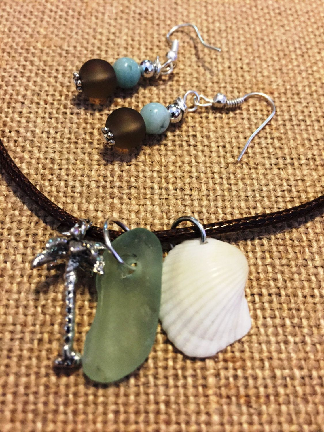 Authentic sea glass necklace with earrings by SerasSeaGlass on Etsy