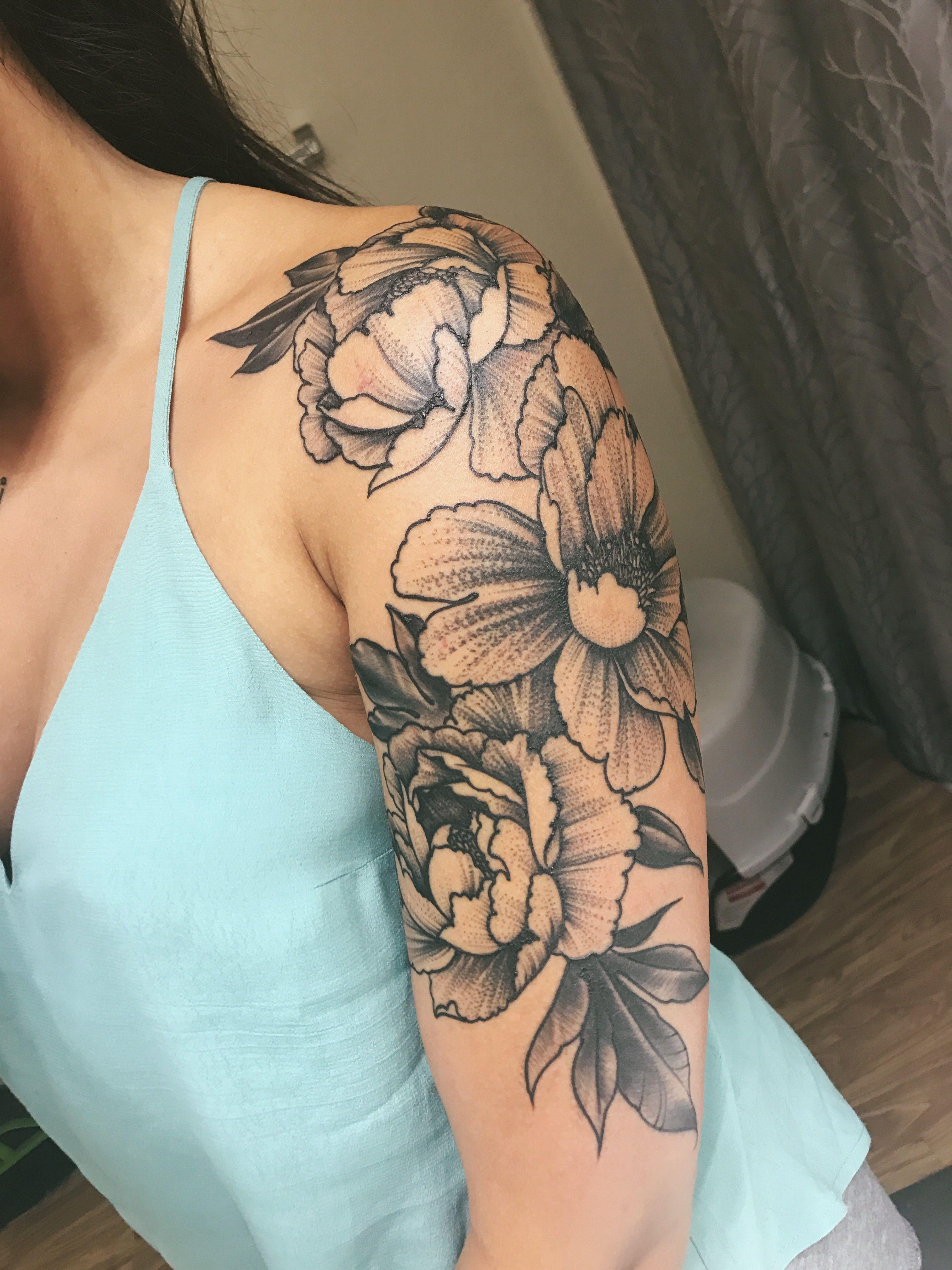 My New Peony Half Sleeve Flower Tattoo Shoulder Shoulder