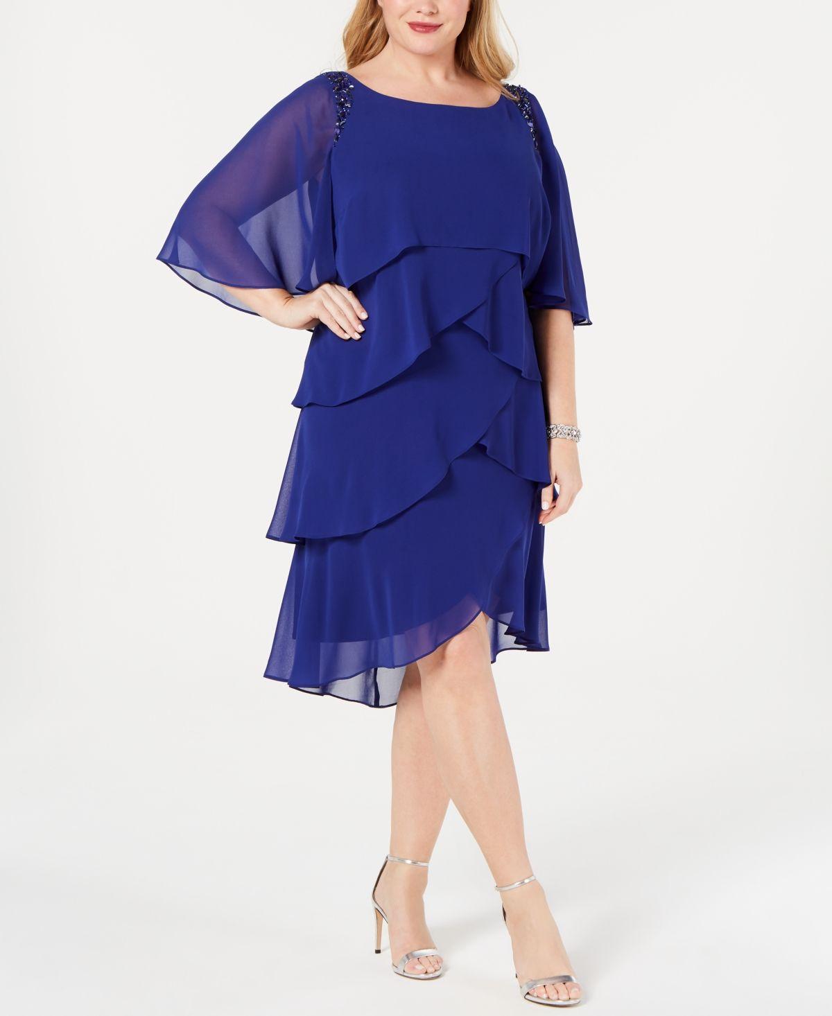 Fashions Womens Plus Size Cape Dress S.L