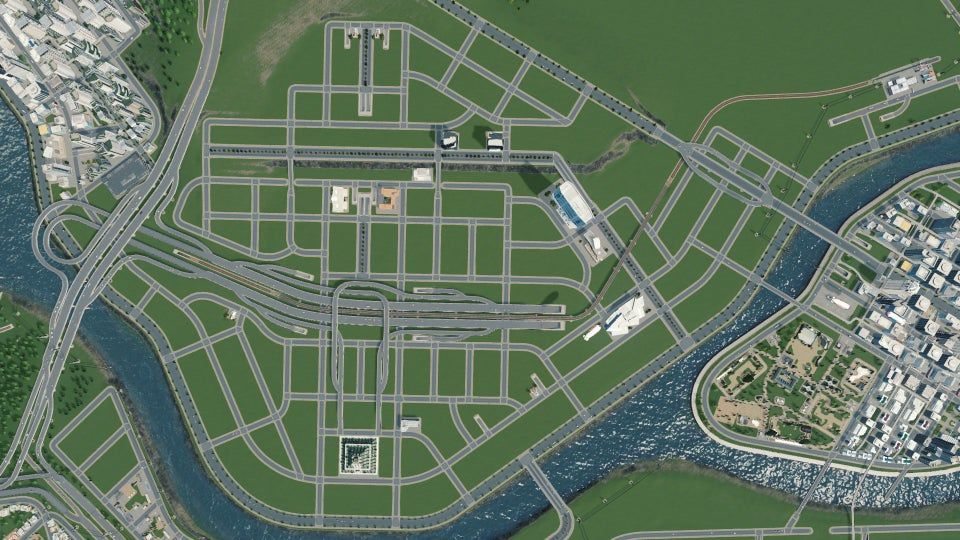 Downtown Road Layout Citiesskylines In 2020 City Skylines Game City Layout Minecraft City