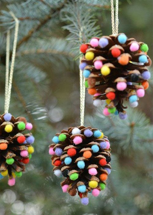 photo ornaments cheap christmas decorations 38 handmade christmas ornaments pom poms and pinecones easy ornament