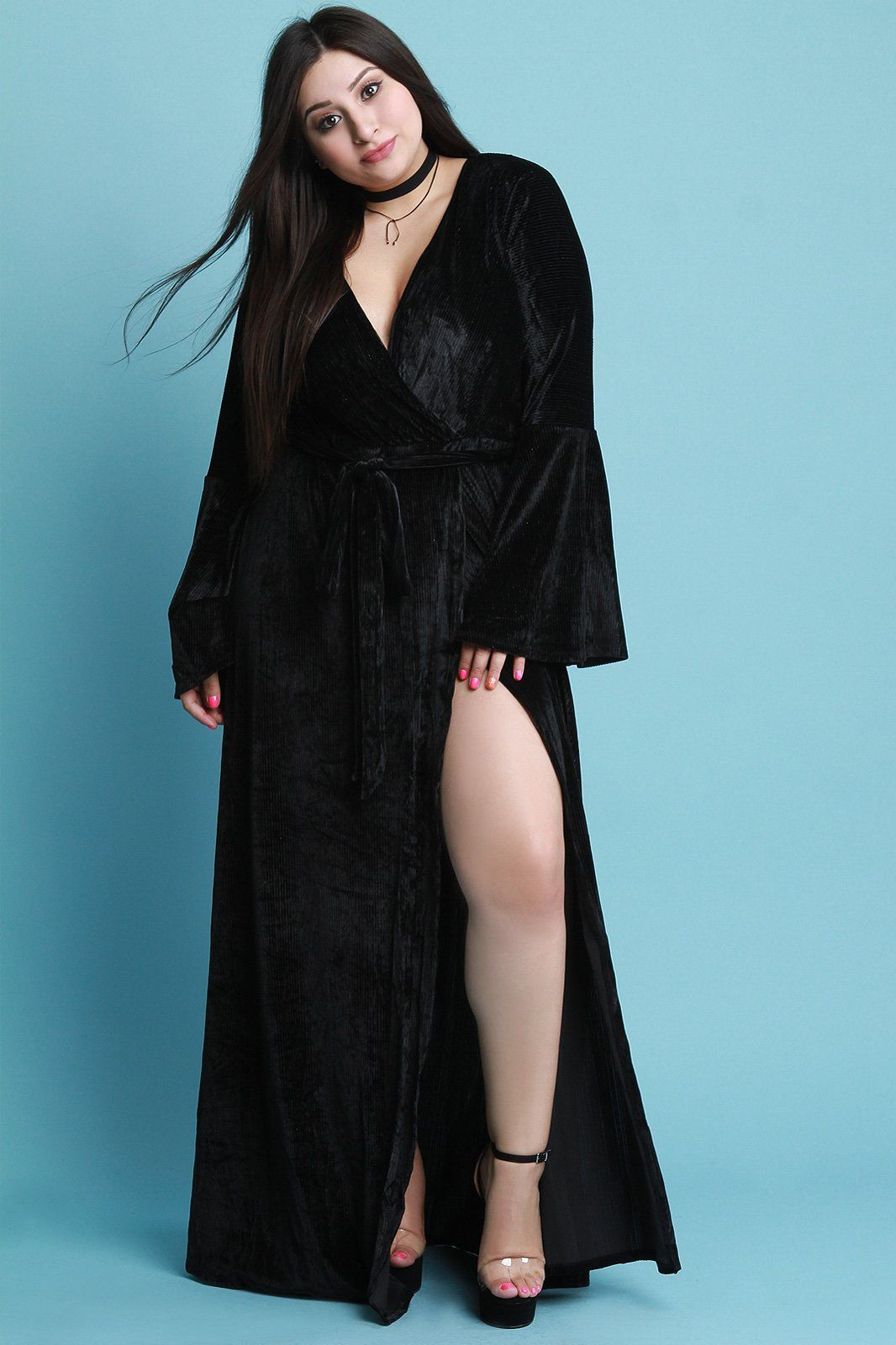 Pin striped velvet surplice bell sleeve slit maxi dress products