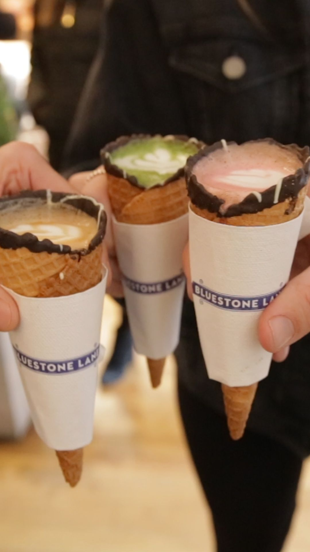 At NYC's Bluestone Lane, you can have your latte in a crunchy and delicious ice cream cone.