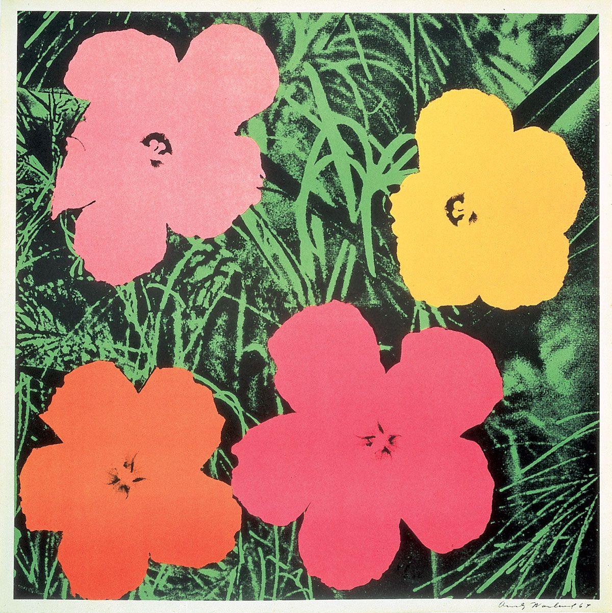 Andy Warhol - Flowers   1964. Screenprint printed on white paper ...