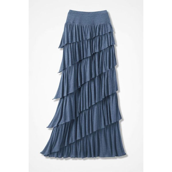 New Angle Maxi Skirt ❤ liked on Polyvore featuring skirts, long blue skirt, maxi skirt, blue maxi skirt, knit maxi skirt and long knit skirt