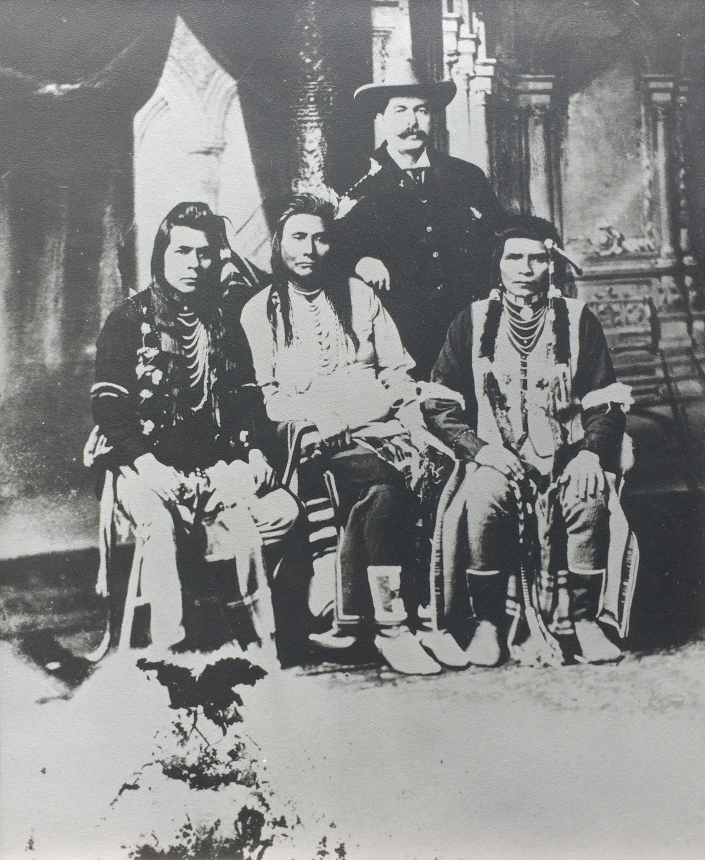 Chief Joseph in a group photo the year before his death.