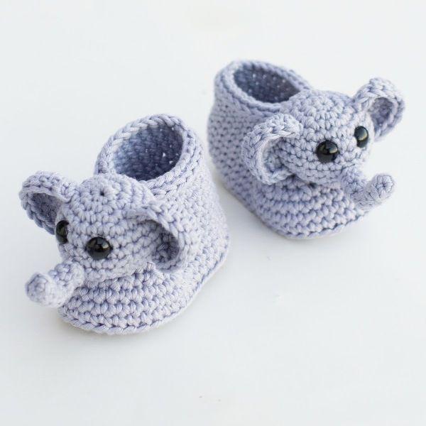 вязание крючком пинетки слоники схемы | пинетки | Crochet ...