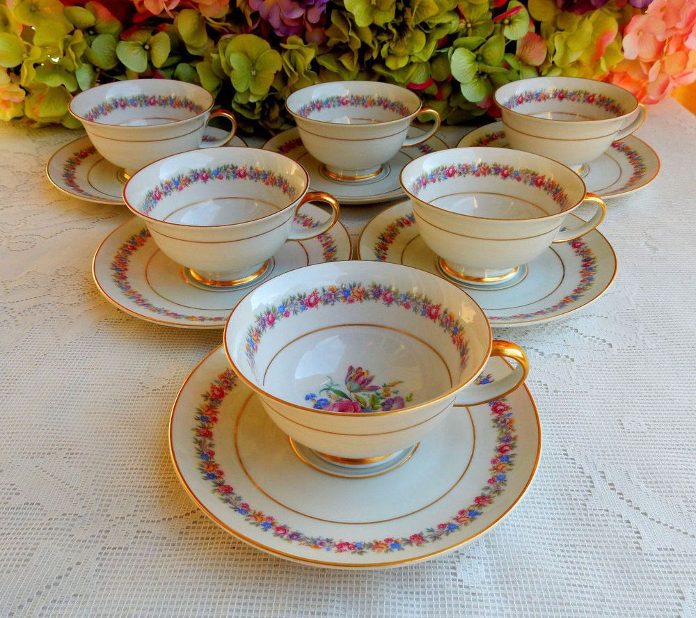 6 Beautiful Vintage Rosenthal Porcelain Cups & Saucers ~ Dresden