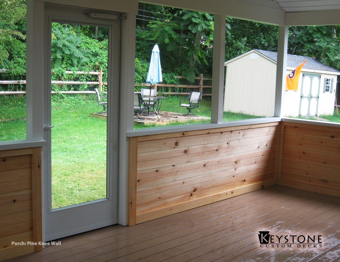 Custom Closed Porch With A Finished Pine Knee Wall. Built