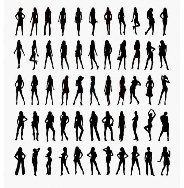 55 Lovely Ladies Silhouette Poses Vector Set - http://www.dawnbrushes.com/55-lovely-ladies-silhouette-poses-vector-set/