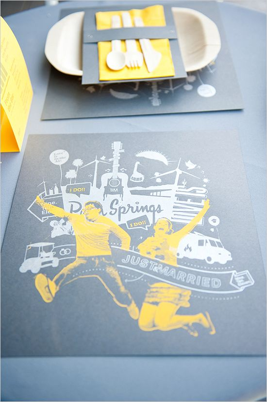 modern wedding stationery; placemats, lots of fun graphic ideas from this wedding