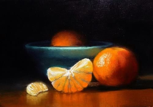 "Daily Paintworks - ""Clementines one Peeled and Blue Bowl"" - Original Fine Art for Sale - © Mary Ashley"