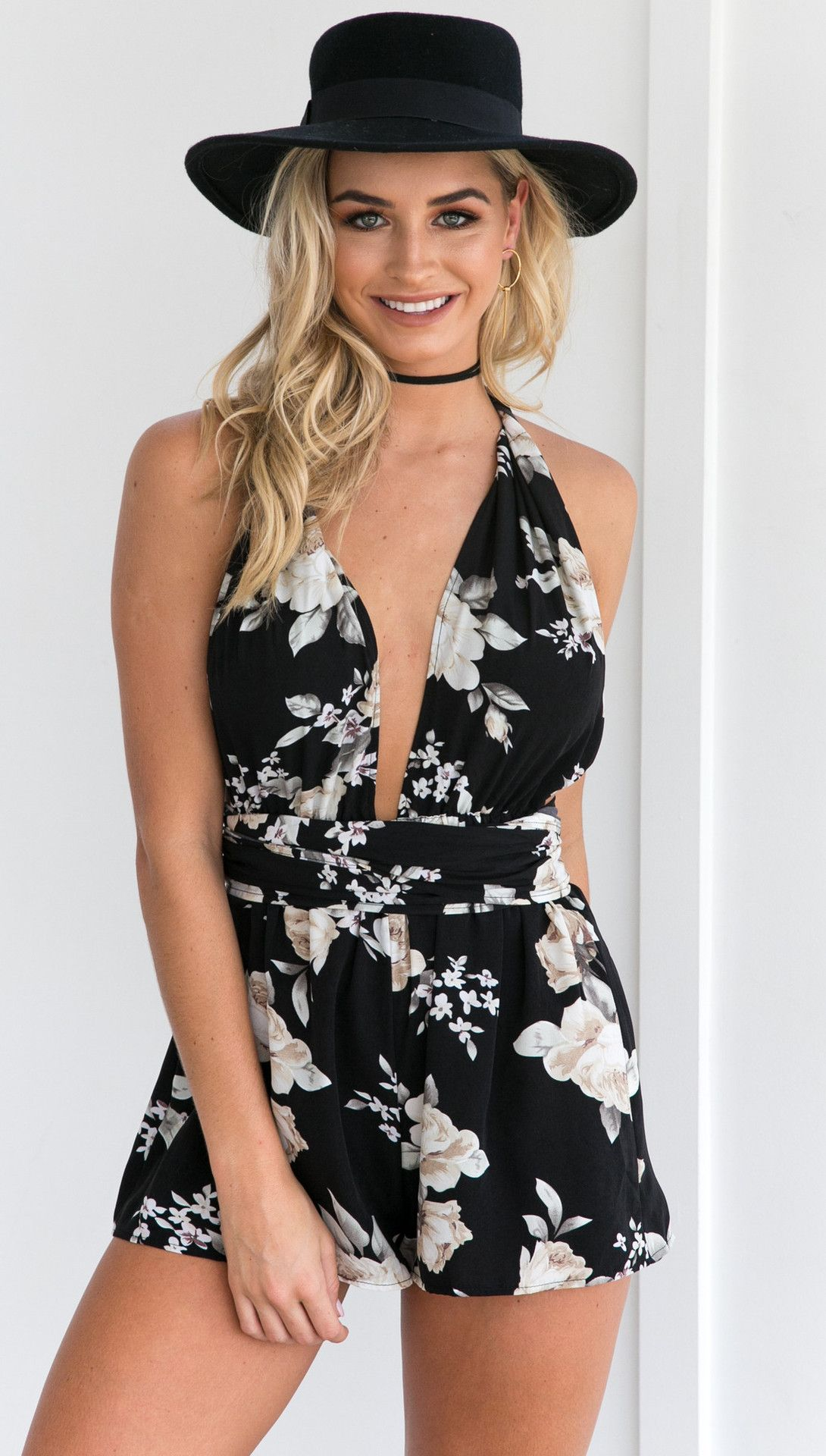 f091563e29f Women s Halter Neck Backless Floral Printed Casual Romper ...