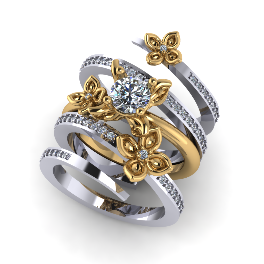 INTERLOCKING METAMORPHOSIS BRIDAL RING SET