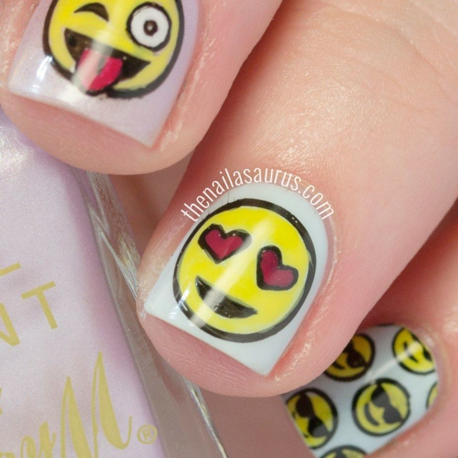 30 Nice Emoji Nail Art Designs (5) | Gel | Pinterest | Emoji nails