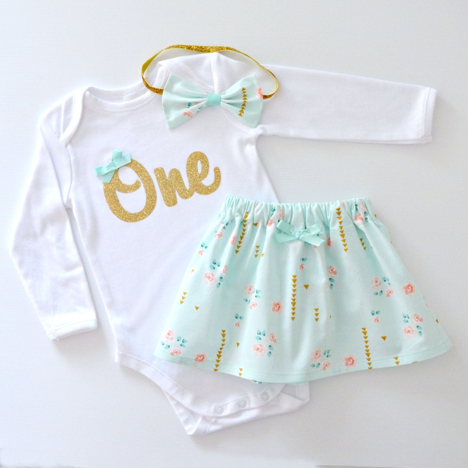 a03220c72bf1 READY TO POST Mint Green   Gold 1st Birthday Outfit