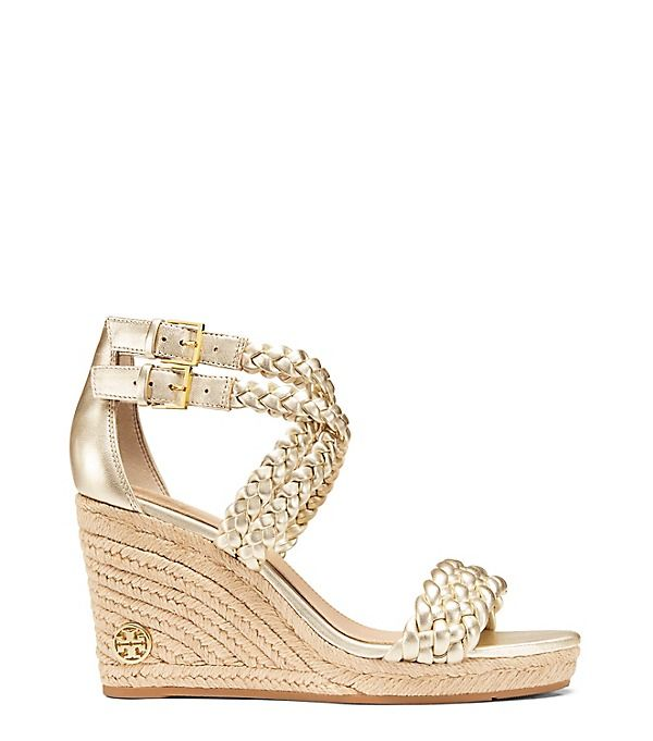 92ec14ca215 TORY BURCH Bailey Metallic Ankle Strap Wedge Espadrille.  toryburch  shoes
