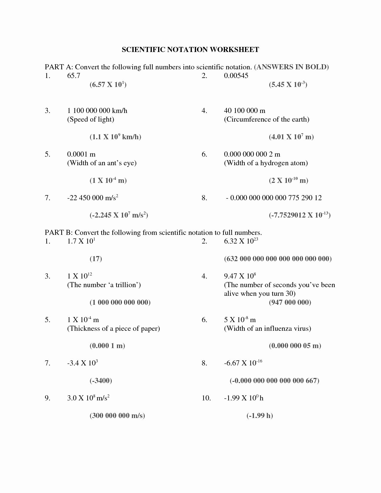 Scientific Notation Worksheet With Answers Inspirational 7