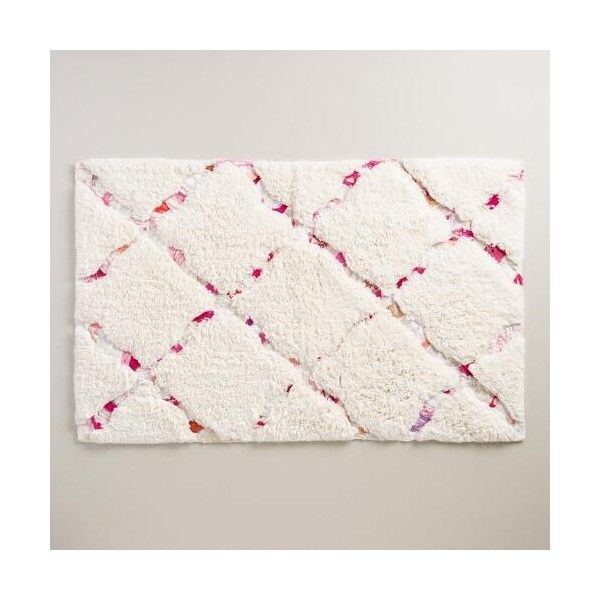 Cost Plus World Market Ivory And Pink Multicolored Trellis Bath Mat Featuring Polyvore Home
