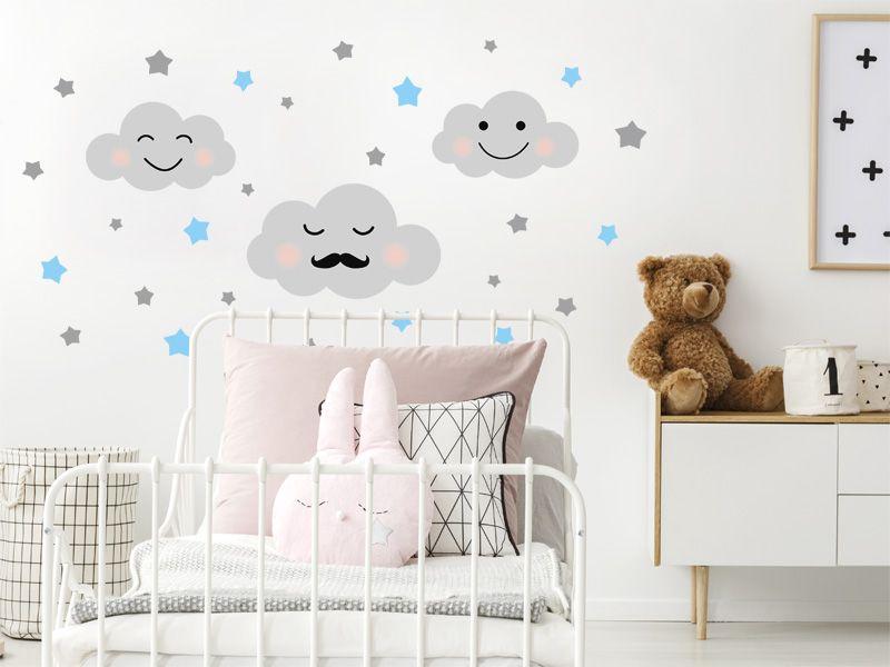 Naklejka Na Sciane Dla Chlopca Chmurki 160x80 Cm Baby Decor Toddler Bed Decor