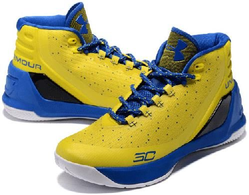 watch 18a1d 82ad1 Under Armour UA Curry 3 Couple Basketball Shoes Yellow sapphire blue2