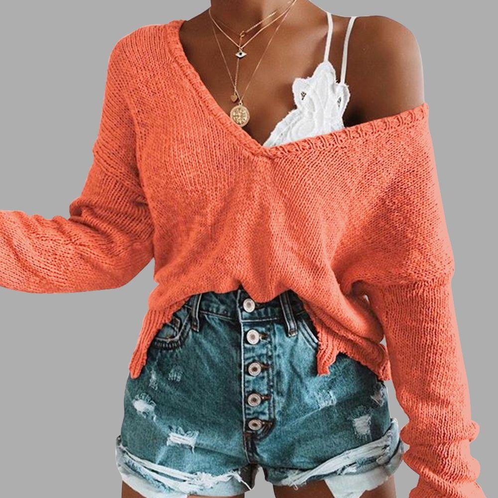 Irregular Crop Top Sweater Women Slim Pullovers V Neck Jumper Sweater