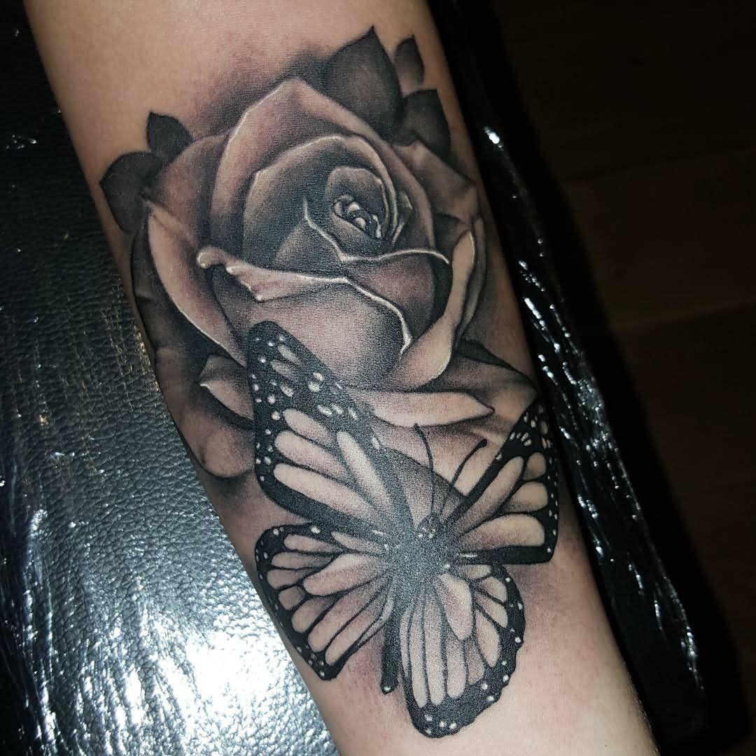 45++ Stunning Black butterfly tattoo on arm image ideas