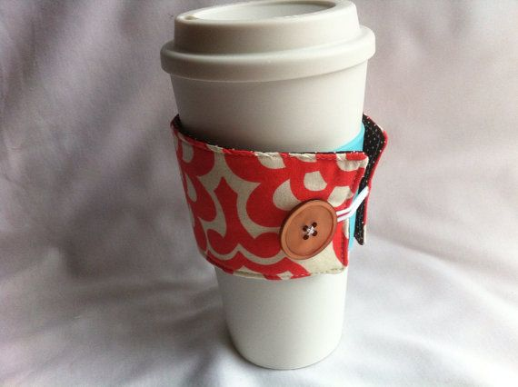 Coffee Snuggie in Cherry Wall Flower by lizzysueandher2 on Etsy, $9.99