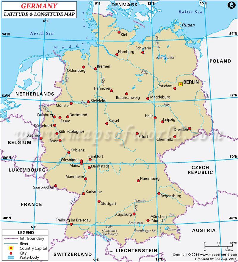 Europe Map Latitude