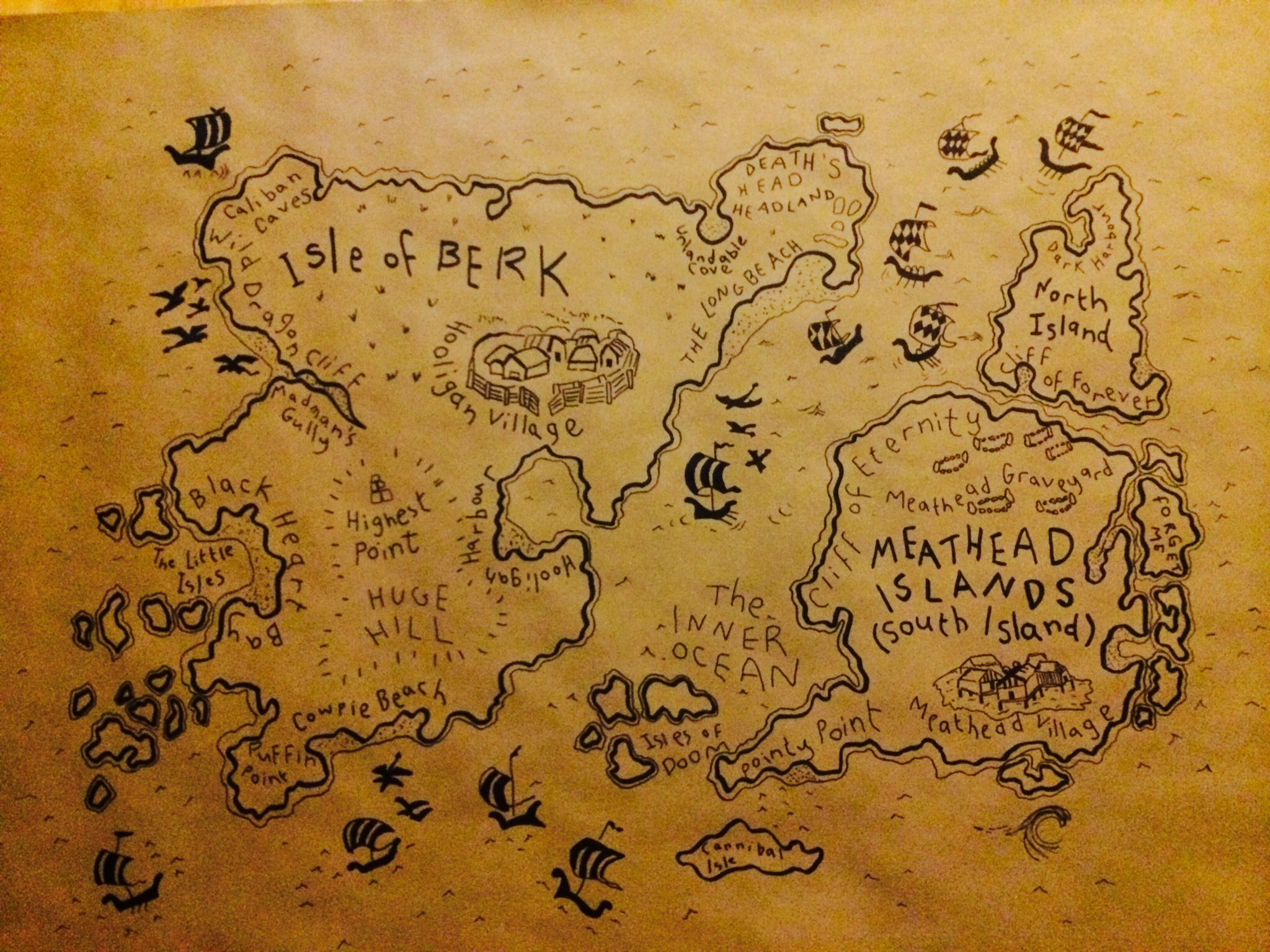 Isle of berk and meathead islands map traced onto brown craft isle of berk and meathead islands map traced onto brown craft paper for a backdrop for how to train your dragon party ccuart Images