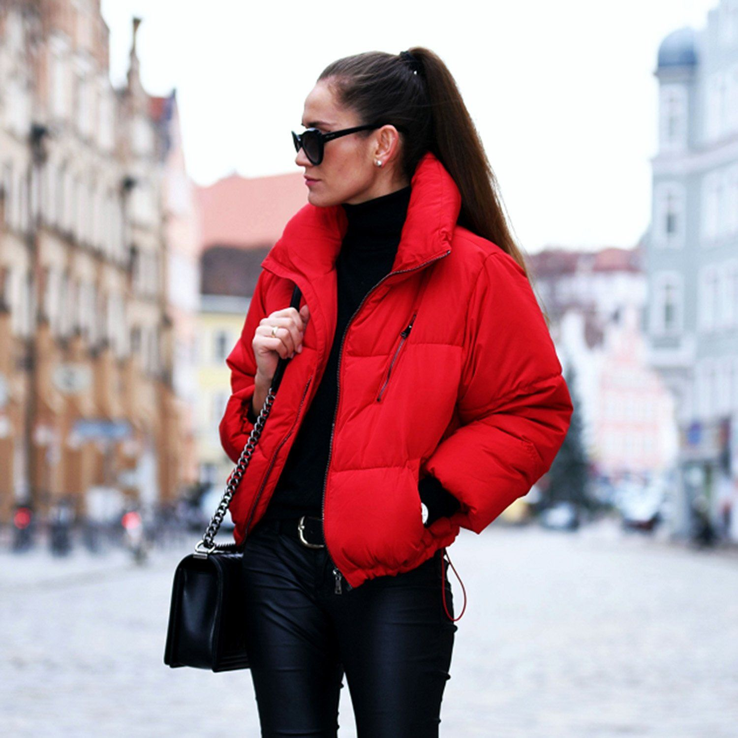 Short Padded Jacket Red Padded Coat Stand Collar Puffer Jacket Lightweight Padded Puffer Coat Winter Red Puffer Jacket Red Jacket Outfit Puffer Jacket Outfit [ 1500 x 1500 Pixel ]
