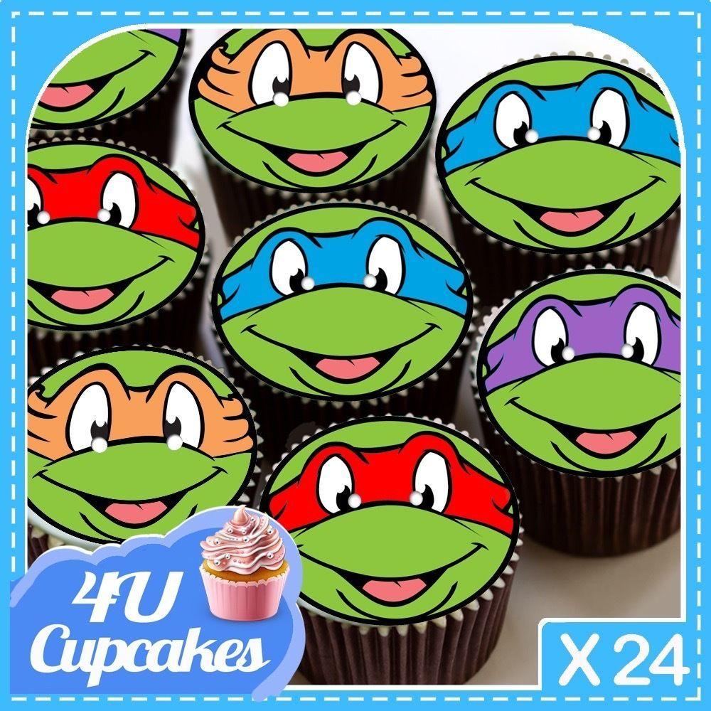 24 X Happy Birthday Mutant Ninja Turtles Cup Cake Toppers Rice Paper Cc7991 Ninja Turtle Cupcakes Edible Cupcake Toppers Cupcake Printing